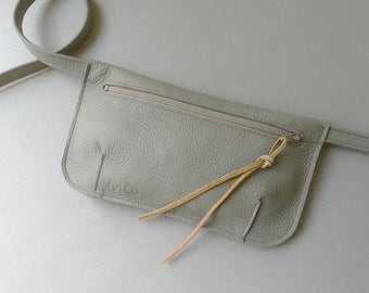 Hip pouch / fanny pack / hip bag - cement grey leather & ecru zipper