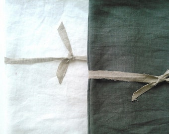 2 White Linen Tea Towel, Set, Blanks, flax, 100 percent linen