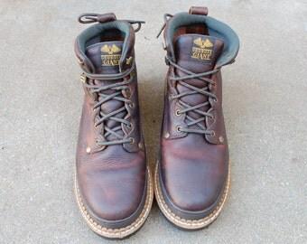 Mens 10.5 Wide Georgia Giant Steel Toe Work Boots Classic Combat Military Boot Hiking Hiker Lumber Jack Trail Peak Mountaineer Hipster Biker