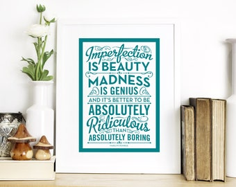 Marilyn Monroe Quote Print - Inspirational Wall Art - Madness is Genius Screen Print - Typography by Chatty Nora - Imperfection is Beauty