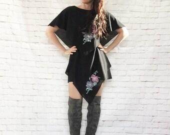 Vintage 70s Black Peplum Shawl Layered Hanky Hem Gypsy Micro Mini Skirt Dress L