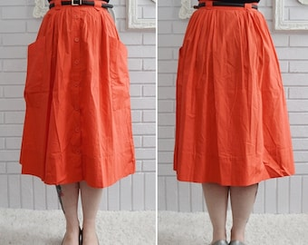 Vintage 1980s Neon Orange Cotton Skirt with Pockets and Buttons by Smith & Jones Size XS