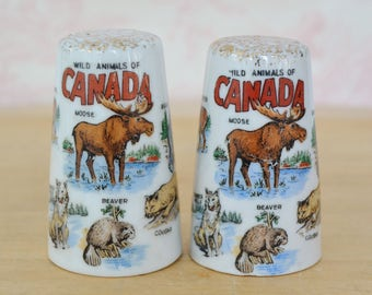 Vintage Canadian Salt and Pepper Shaker Souvenirs with Wild Animals of Canada Made in Japan