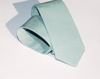 Mist linen neck tie. Mint green tie standard or skinny linen tie