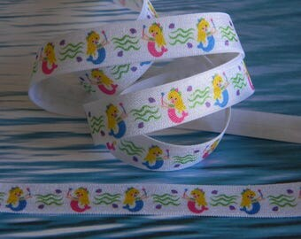 "Mermaid FOE 5 yards of 5/8"" Fold Over Elastic White with Pink and Blue Mermaids Headband Connectors Party Favor Ties Pool Party Favor Ties"