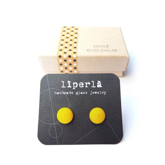 Yellow stud earrings - Sunshine yellow matte fused glass stud earrings- yellow ear post