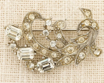 Art Deco Silver Rhinestone Brooch Vintage Abstract Leaves Floral Broach Costume Jewelry | Vtg Pin 16C