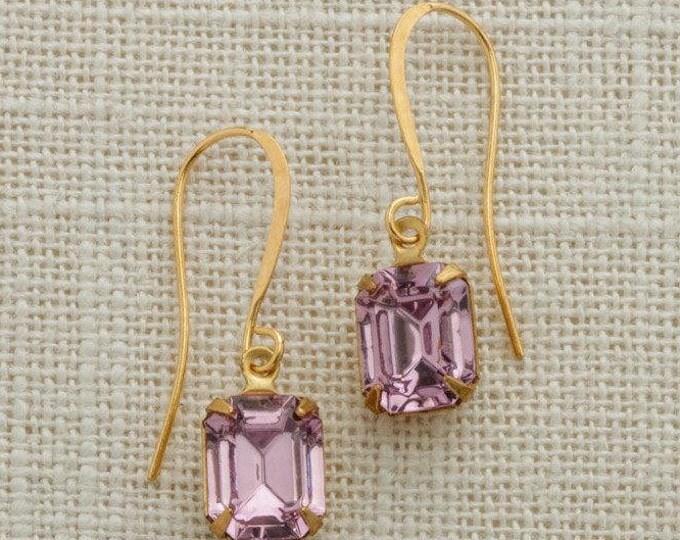 Purple Crystal Earrings Gold French Hook Emerald Cut Stone Lavender Rhinestone Wedding Earrings Bridesmaid Gift Handcrafted 10mm 6H