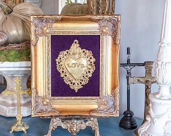 Beautiful Ex Voto Sacred Heart, Framed in Ornate Gold Frame, Purple Velvet Backing
