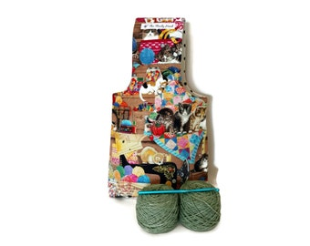 Medium Kittens in the Craft Room Yarn Bag Project Tote S174