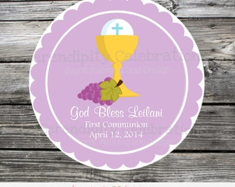 First Communion, Baptism, Confirmation, Religious, Set of 12 Personalized Favor Tags, Stickers, Thank You Tag, God Bless, Holy Communion