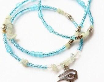 Blue Waist Beads, Eye of Horus Aquamarine Waist Beads, Ancient Egyptian Belly Chain, Khemet Jewelry