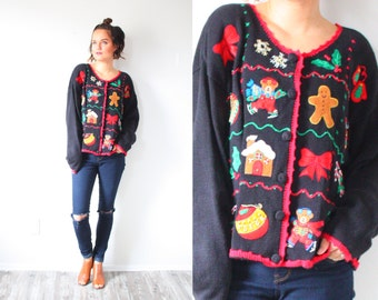 Vintage ugly christmas sweater // tacky Christmas gingerbread sweater // black oversized sweater // christmas cardigan // christmas jumper