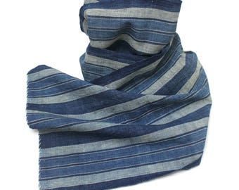 Japanese Artisan Hand Loomed Ikat. Vintage Cotton Scarf. Striped Indigo Folk Textile Supply Fabric (Ref: 1761)