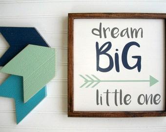 Dream Big Little One Sign . Set . Nursery Sign Set . Woodland Nursery . Arrows . Tribal Arrow Sign . Woodland Nursery Decor . Dream Big Sign