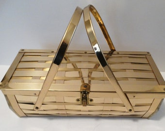 Vintage 1950s Purse//50s Purse//Basketweave//Gold Metal//Lucite Sides