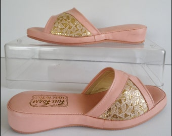 Vintage 1950s Shoes//50s Slippers//Never Worn//Coral//Gold Brocade//Full Foam Heel To Toes