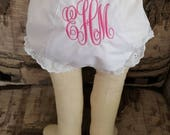 Intertwining Monogram Vine Font  Monogrammed Bloomer Diaper Cover Personalized Baby Bloomer Diaper Cover Intertwining Font