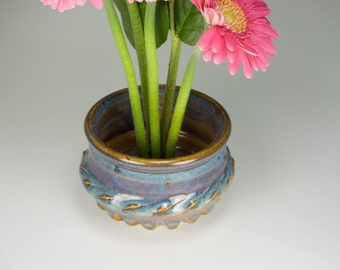 Blue vase, ikebana blue flower vase, japanese kenzan vase with stainless steel pin frog item 5004