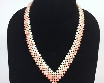 Woven Ombre Angelskin Coral V Collar Necklace With Gold Vermeil Clasp