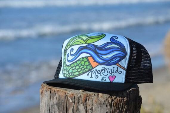 Mermaid At Heart Black Trucker Hat Made in USA by Lauren Tannehill  Art