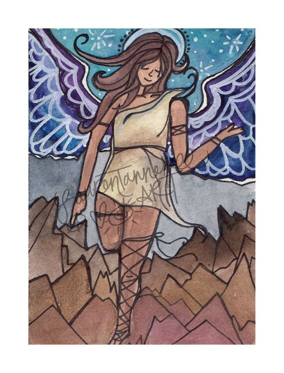 8x10 Giclee Print Matriarch Angel Art on Paper by Lauren Tannehill Art