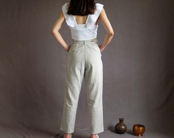 Ecru Corduroy High Waist Trousers