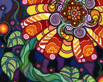 Psychedelic Flower - 9 x 12 Original Marker Painting by Amanda Lanford