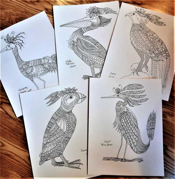 Adult Coloring Pages, Whimsical Birds Coloring Book, Fantasy Birds, Set A2, Coloring Book, Original Coloring Pages, Black and White Art