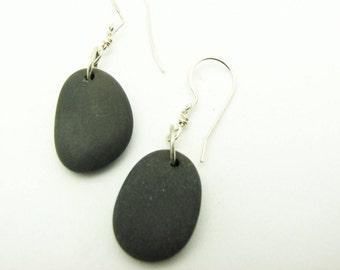 Beach Stone Pebble Earrings  River Rock Jewelry Black Stone Dangle Earrings Earthy Lake Superior Stones