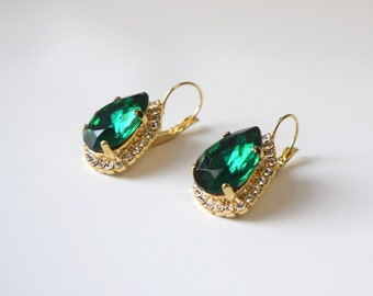 Emerald Rhinestone Earrings, Georgian Paste, Josephine Jewelry, 18th Century Earrings, Regency, Rococo, 19th Century, Green Crystal Jewels