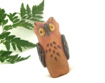 Pottery Owl Vase / Hand Sculpted Ceramic Toothpick Holder / Artisan Made Owl Lover Gift / Office Accessory Match Pencil Toothbrush Match