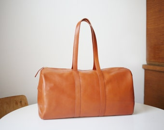 Weekender Cognac Brown Leather with Cotton lining, duffle bag, big shoulder bag, travel bag