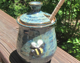 Ceramic Honey Pot With Lid And Dipper Bee Design Jar Container Lidded Handmade