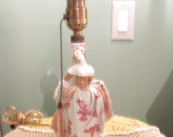 1940s Porcelain Lady Figurine Lamp / White Pink Lady Lamp Small Works Germany