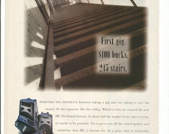 1995 Advertisement JBL Pro Sound System Eon First Gig New Band Rock Music Musician Gear Jam Space Music Studio Room Wall Art Decor