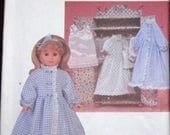 """Vintage Crafts Sewing Pattern Simplicity 7449 18"""" AG Style Doll Clothes and Wardrobe Case, Robe Nightgown Lingerie Slip, Uncut Factory Folds"""