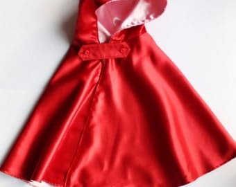 Little red riding hood cape. Red cloak for girls. Sizes from 12 months to 4 years.