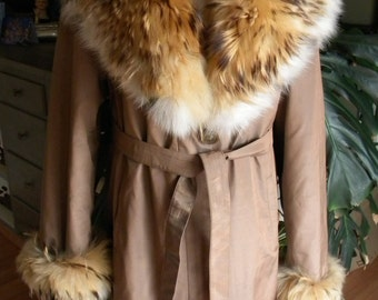 Beautiful imported fabric and fox fur parka / overcoat / coat / jacket / trench