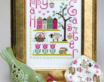 Happy Easter Trio cross stitch patterns by Tiny Modernist at thecottageneedle.com biscornu scissor fob wall art
