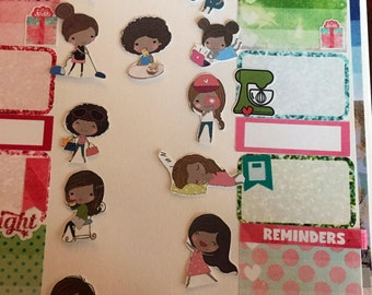 "Precious African American ""every day moods"" accessory planner stickers. 12 different stickers"