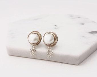 Silver Jellyfish Earrings with Crystal Pearl Beads- PMC Earrings, PMC Jewelry, Silver Earrings, Pearl Earrings