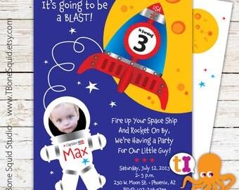 Space Ship, Rocket, Birthday, Invitation