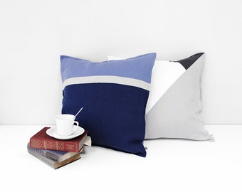 Blue pillow cover Color block, Blue linen pillow covers for rectangle accent pillows, Serenity and indigo throw pillow, decorative pillow