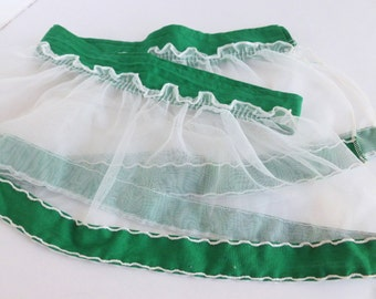 Ruffle Window Valance Sheer White with Emerald Green Trim Rod Pocket