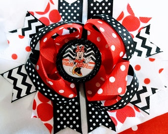 """Minnie Mouse black chevron red polka dots Hair Bow Grossgrain Loopy Boutique Handmade 5"""" 18m  24M 2T 3 t 4 t 5 6 7 8"""