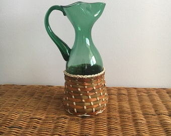 Vintage Green Handblown Art Glass Pitcher Woven Base