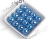 20mm - Deep Blue AB Crackle Beads, Chunky Crackle Beads, 20mm Crackle Beads, Crackle Gumball Beads, Cracked Bubblegum Beads