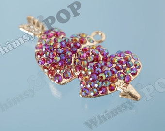 1 - Large 3D Gold Tone Double Heart Cupid Rhinestone Love Pendant Charm, Heart Charm, Cupid Pendant, 56mm x 30mm (R8-224)