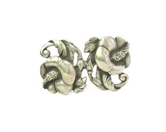 Hibiscus Flower Brooch. Leafy Scrolls. Nordic Style Sterling Silver. Designer Signed Viking Craft. Vintage 1940s American Jewelry